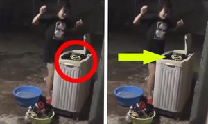 Người đẹp tá hỏa vị chạm mặt rắn khi giặt đồ