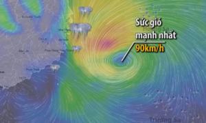 Đường đi hướng vào các tỉnh Nam Trung Bộ của bão số 14