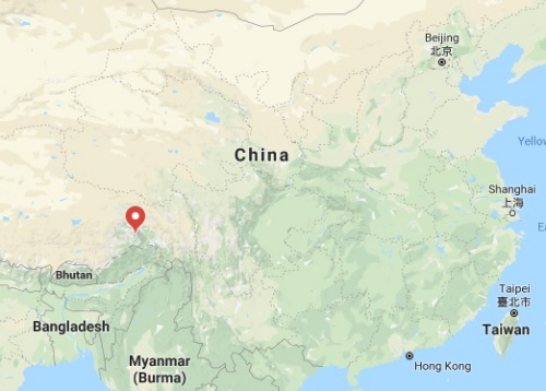 Vị trí trận động đất mạnh 6,3 độ gần biên giới Trung - Ấn. Đồ hoạ: BNO.