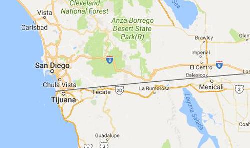 Đường biên giới giữa Mỹ và Mexico. Ảnh: Google Maps.