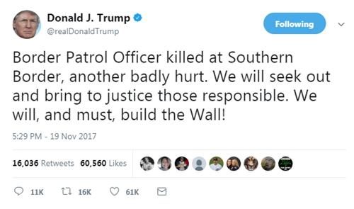Tổng thống Donald Trump tái khẳng định cam kết xây tường biên giới với Mexico. Ảnh: Twitter/@realDonaldTrump.