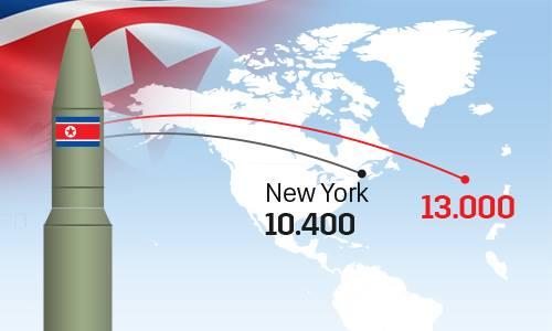 Tầm bắn bao trùm lãnh thổ Mỹ của tên lửa Hwasong-15 Triều Tiên. Nhấn vào hình để xem chi tiết. Đồ họa: