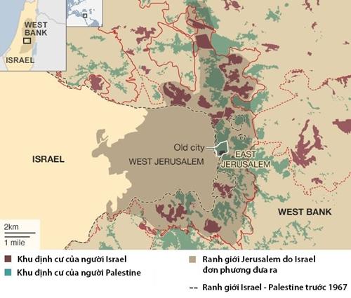 Vị trí Jerusalem. Đồ họa: BBC.