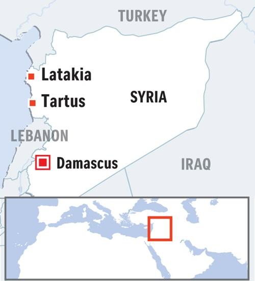 Vị trí thành phố Latakia, nơi có căn cứ Hmeimim, và Tartus, Syria. Đồ họa: Straits Times.