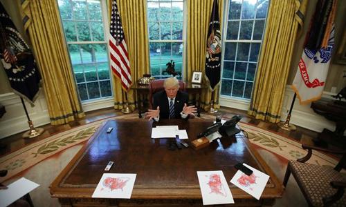 Tổng thống Mỹ Donald Trump ở Nhà Trắng. Ảnh: Reuters.