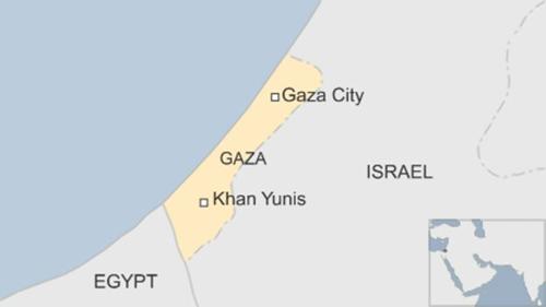 Vị trí thành phố Khan Younis, Gaza. Đồ họa:BBC.