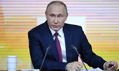 Tổng thống Nga Vladimir Putin tại cuộc họp báo. Ảnh: AFP.