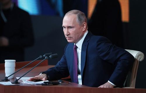 Tổng thống Nga Vladimir Putin tại cuộc họp báo hôm nay ở Moscow. Ảnh: Tass.