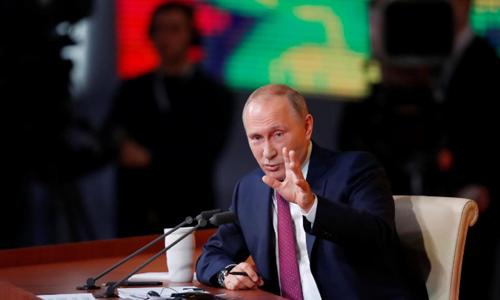 Tổng thống Nga Vladimir Putin tại cuộc họp báo. Ảnh: Reuters.
