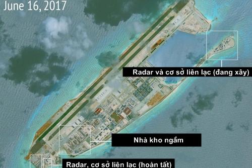 Hoạt động xây dựng phi pháp của Trung Quốc trên đá Chữ Thập, thuộc quần đảo Trường Sa của Việt Nam.
