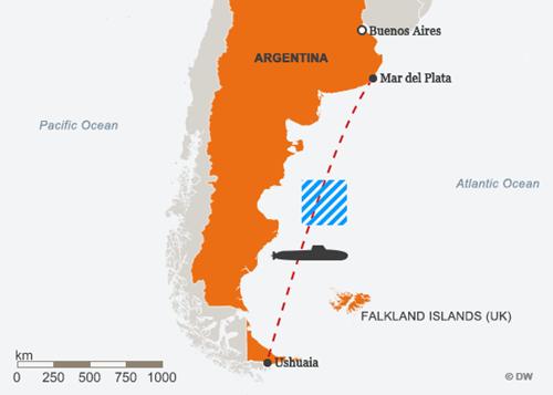 Lộ trình của ARA San Juan, vùng màu xanh là nơi tàu ngầm liên lạc lần cuối. Đồ họa: DW.