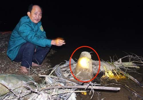 Quả bom dài hơn một mét bên bờ sông Lam