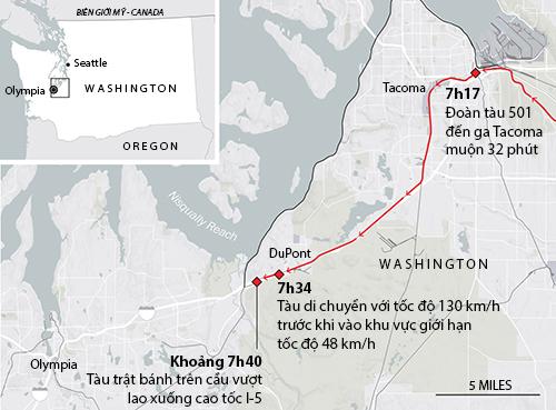 Hành trình của đoàn tàu 501 trước khi gặp nạn. Đồ họa: Washington Post.