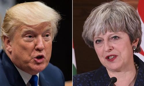Tổng thống Mỹ Donald Trump (trái) và Thủ tướng Anh Theresa May. Ảnh: Sky News.