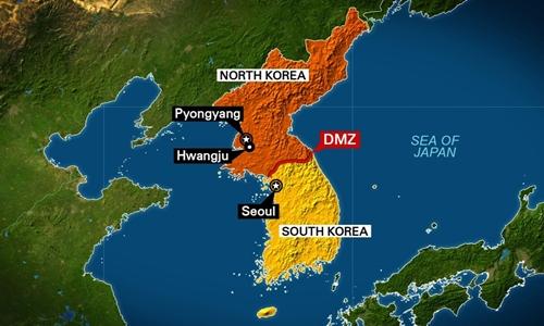 Vị trí Khu vực phi quân sự (DMZ) chia tách Triều Tiên và Hàn Quốc. Đồ họa: CNN.