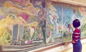 Nghệ thuật trên bảng đen của nữ sinh Hong Kong