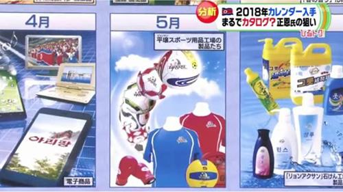 Hình ảnh tháng 4, 5 và 6 trên lịch của Triều Tiên. Ảnh: TBS