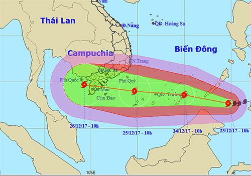 Ảnh vị trí và đường đi của bão Tembin lúc 11h ngày 23/12. Nguồn: NCHMF.
