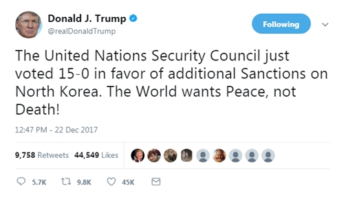 Tổng thống Mỹ Donald Trump bình luận trên Twitter về việc Liên Hợp Quốc thông qua lệnh trừng phạt Triều Tiên. Ảnh: Twitter/@realDonaldTrump.
