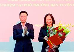 Bà Phương Thanh được bổ nhiệm lại làm Phó ban Tuyên giáo Trung ương vào tháng 3. Ảnh: Đại đoàn kết