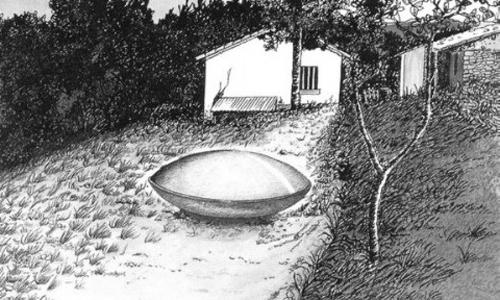 Một nông dân Pháp trông thấy vật thể baylạ năm 1981. Ảnh:Artlark.