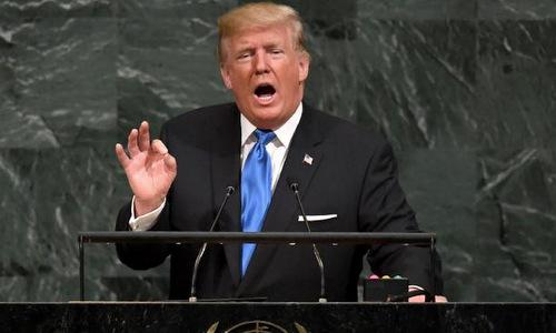Tổng thống Trump phát biểu trước Đại Hội đồng Liên Hợp Quốc. Ảnh: AFP.