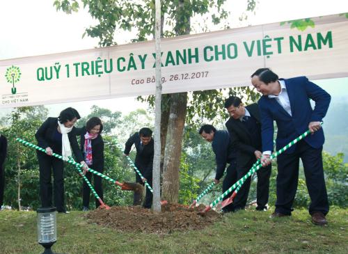 Từ trái qua, bà Đặng Thị Ngọc Thịnh - Phó Chủ tịch nước VIệt Nam, bà Bùi Thị Hương- Giám đốc điều hành Vinamilk cùng các quan chức, lãnh đạo địa phương trồng cây tại Khu di tích quốc gia đặc biệt Pác Bó.
