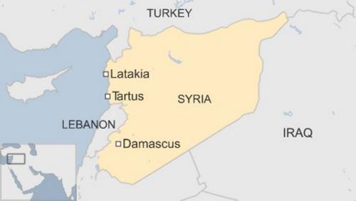 Hai căn cứ của Nga nằm tại Tartus và Latakia, phía tây Syria. Đồ họa: BBC.