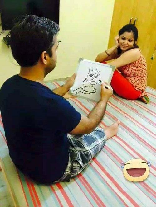 Khi chồng là họa sĩ biếm họa.