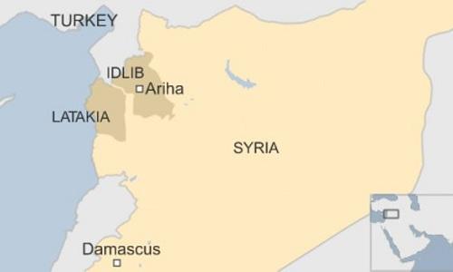 Vị trí hai tỉnh Latakia và Idlib. Đồ họa: BBC.