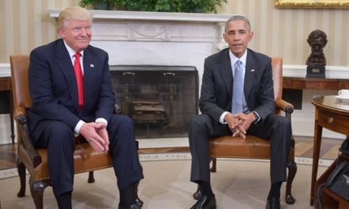 Obama và Trump gặp nhau tại Nhà Trắng tháng 11/2016. Ảnh: AFP.