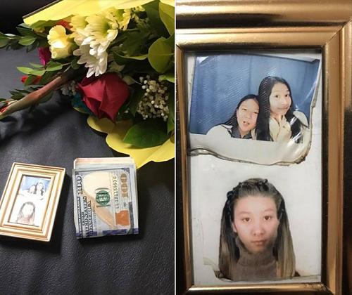 Mua hoa với giá 20 USD, Luan Nguyen phát hiện 1.500 USD và một khung ảnh cụ bà để quên trong giấy gói. Ảnh: Facebook Luan Nguyen