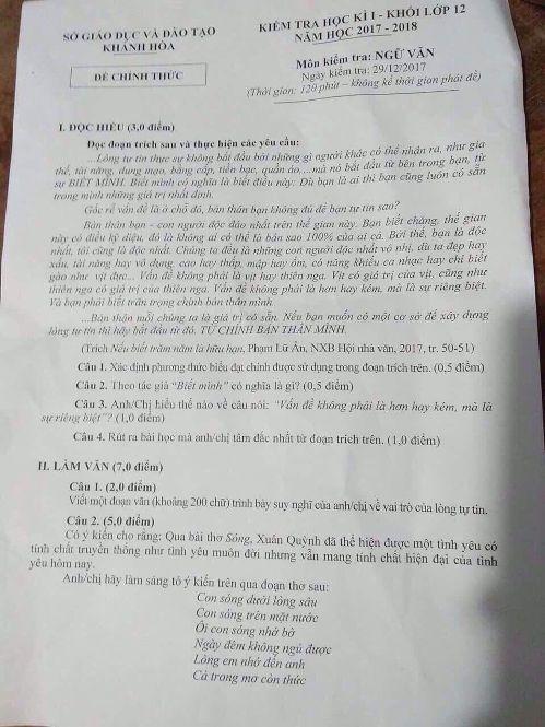 Nghi lộ đề, Khánh Hòa cho học sinh dừng kiểm tra học kỳ