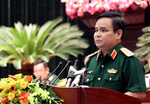 Thượng tướng Lê Chiêm phát biểu khai mạc hội thảo. Ảnh: Hữu Công.