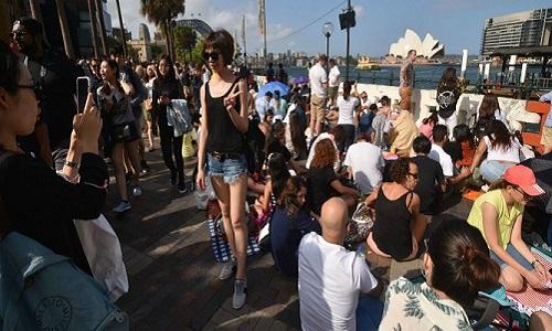 Người dân Sidney tập trung tại bến cảng để chờ xem pháo hoa năm mới. Ảnh:AFP.