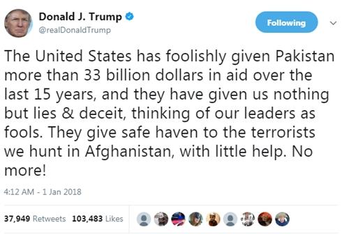 Tổng thống Mỹ Donald Trump dọa cắt viện trợ cho Pakistan. Ảnh: Twitter/realDonaldTrump.