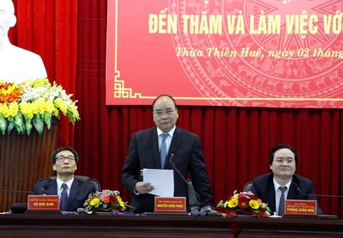 Thủ tướng Nguyễn Xuân Phúc tại buổi làm việc với Đại học Huế. Ảnh: Võ Thạnh.