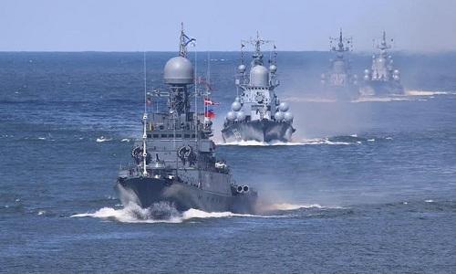 Các tàu chiến thuộc hạm đội Baltic của Nga. Ảnh: Sputnik.