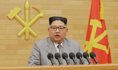 Nhà lãnh đạo Triều Tiên Kim Jong-un đọc thông điệp năm mới hôm 1/1. Ảnh: KCNA.