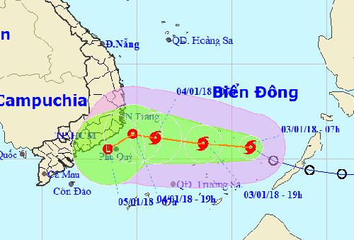 Hướng đi của bão Baloven theo dự báo của Trung tâm dự báo khí tượng thủy văn Trung ương.