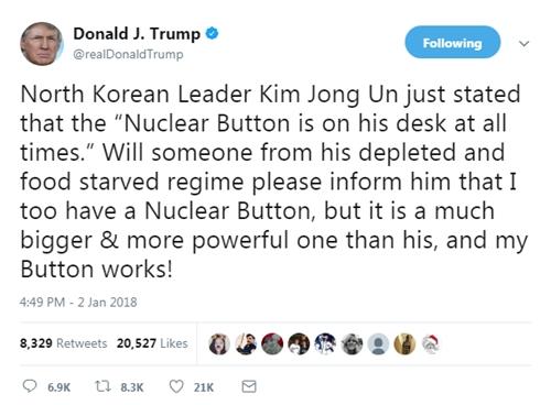 Tổng thống Mỹ Donald Trump nói ông cũng có nút kích hoạt hạt nhân. Ảnh: Twitter/realDonaldTrump.