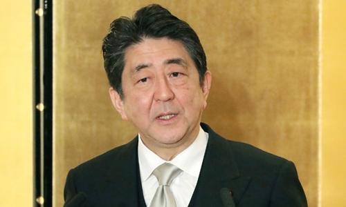 Thủ tướng Abe phát biểu tại họp báo. Ảnh: AFP.