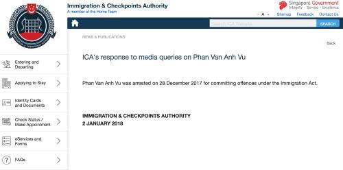 Thông báo bắt giữ ông Phan Van Anh Vu trên ICA. Ảnh: ICA.