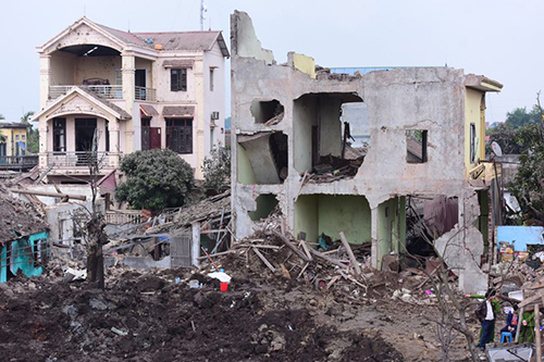 Hiện trường vụ nổ ở Bắc Ninh. Ảnh: Giang Huy