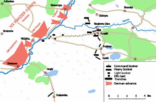 Các mũi tấn công của Đức (màu đỏ) nhằm vào Wizna. Đồ họa: Wikipedia.