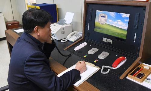 Bàn kết nối đường dây nóng giữa hai miền Triều Tiên. Ảnh: Yonhap.
