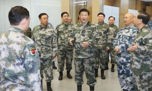 Chủ tịch Trung Quốc Tập Cận Bình thăm Trung tâm Chỉ huy Tác chiến Hỗn hợp năm 2016. Ảnh: news.china.com.
