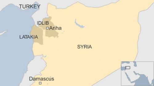 Vị trí hai tỉnh Latakia và Idlib của Syria. Đồ họa: BBC.