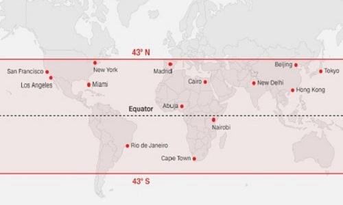 Dự đoán vĩ độ rơi của trạm Thiên Cung 1. Ảnh: ESA.