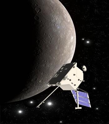 Tàu quay quanh quỹ đạo sao Thủy của ESA. Ảnh: ESA.